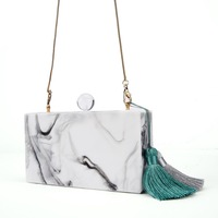 3 Pcs Per Lot Mother Of Pearl Marble Color Acrylic Bag Clutches With Tassel Women Ladies Messenger Shoulder Evening Handbags