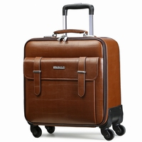 Quality leather trolley luggage travel bag16 18 20 22 24 commercial universal wheels cow split leather luggage business suitcase