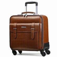Качество кожи тележки для багажа travel bag16 18 20 22 24 коммерческий Универсальный колеса яловичный спилок кожаные сумки багажа чемодан