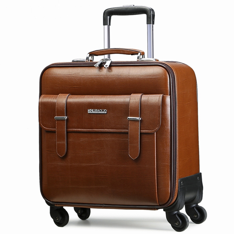 Quality leather trolley luggage travel bag16 18 20 22 24 commercial universal wheels luggage bag suitcase,cow split leather bag universal uheels trolley travel suitcase double shoulder backpack bag with rolling multilayer school bag commercial luggage