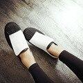Hook & Loop Sapatos crina Dedo Do Pé Redondo Para As Mulheres Da Moda Concise Durante Todo o Jogo Casual Flat Shoes Mulher 2017 Primavera Conforto mocassins
