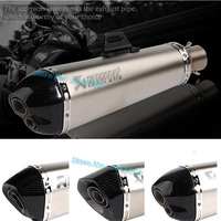 Motorcycle Universal Inlet 51mm Exhaust Pipe Escape Moto Muffler With DB Killer Steel Carbon Aluminum For