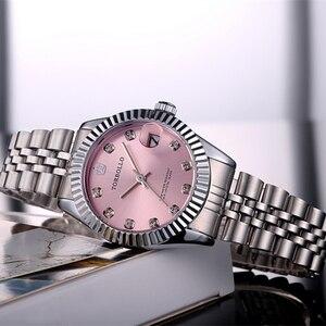Image 1 - TORBOLLO frauen Armbanduhren Luxus Silber Rosa Zifferblatt Quarz Weiblichen Uhr Diamant Auto Datum Mode Damen Armbanduhr Neue Top