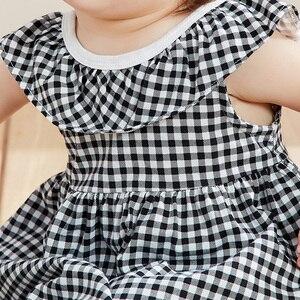 Image 5 - Платье мини balabala2019 для маленьких девочек, клетчатое платье на бретельках, хлопковая детская модная мягкая одежда