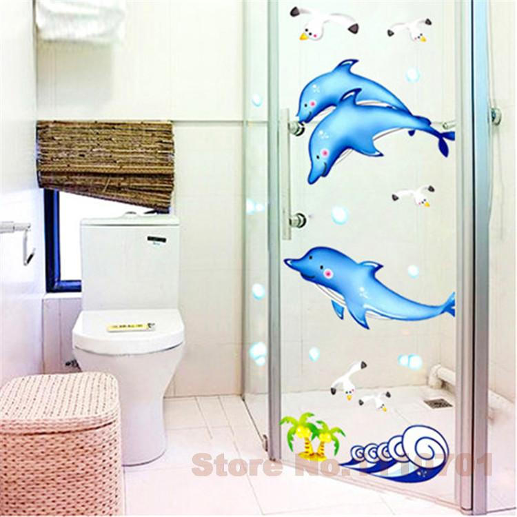 Cartoon Dolphin Bathroom Wall Decals House Decoration