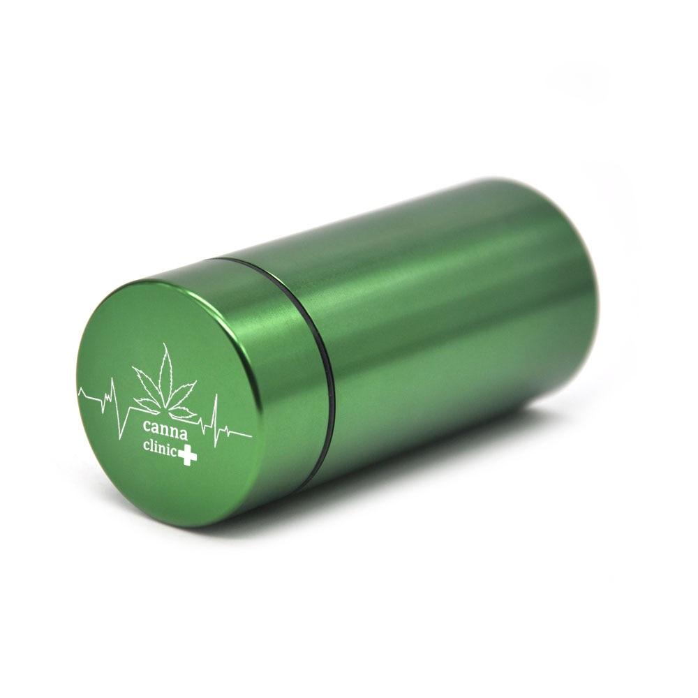 Тайник jar-герметичная запах доказательство Алюминий травы контейнер травы Шлифовальные станки курительная трубка Pill Box, отправить сигары держатель+ Стекло советы для - Цвет: Green-CannaClinic