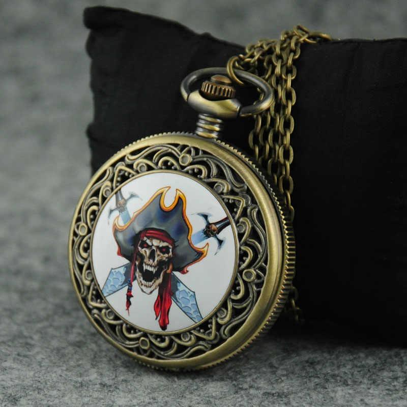 الجمجمة و سكين تصميم كوارتز الجيب ووتش الموت بارد نمط الجمجمة الساعات فوب سلسلة قلادة الأزياء قلادة ساعة