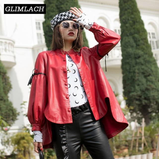 2019 Spring Korean Loose Oversize Jacket Real Sheepskin Female Genuine Leather Coat Single Breasted Bow Lantern Sleeve Overcoats
