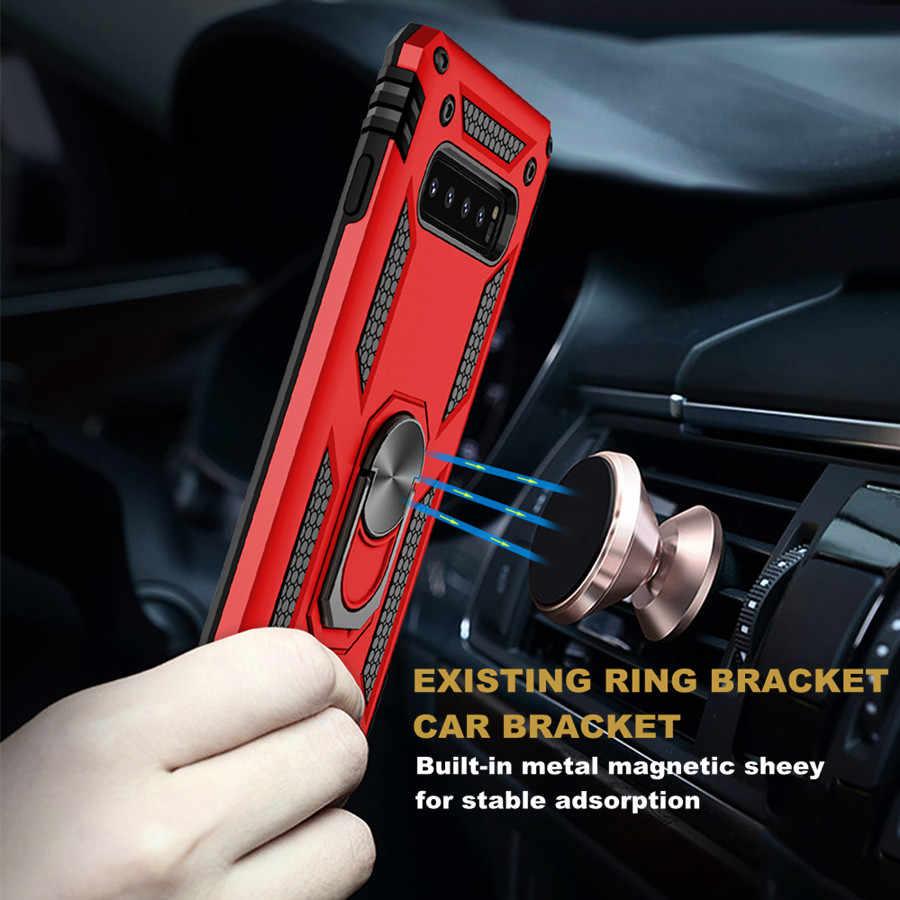 Противоударный чехол с металлическим кольцом для samsung Galaxy S10, S9, S8 Plus, S10E, Note 8, Note 9, силиконовый роскошный защитный мягкий чехол на магните для телефона