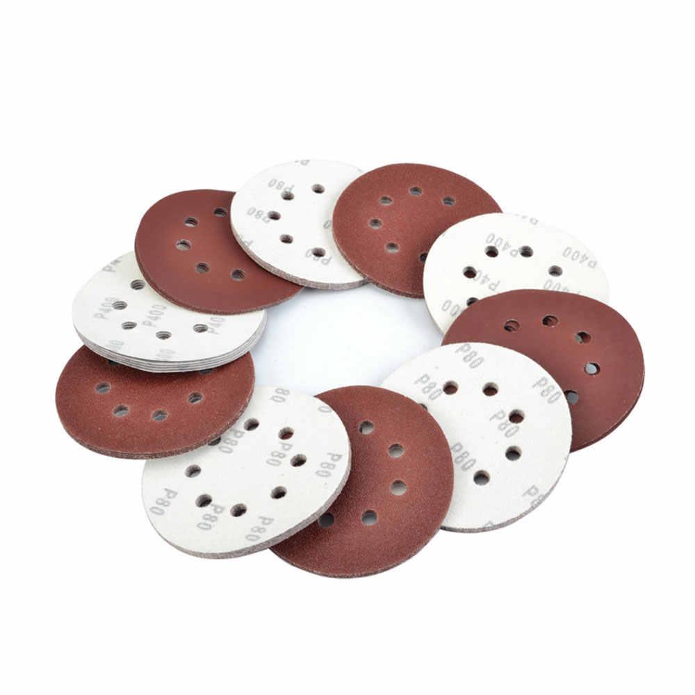 """QWORK 1PC 5 """"(125mm) średnica okrągły haczyk i pętli papier ścierny 8 otworów arkusz papieru ściernego dla szlifierka do polerowanie drewna metalu i innych"""