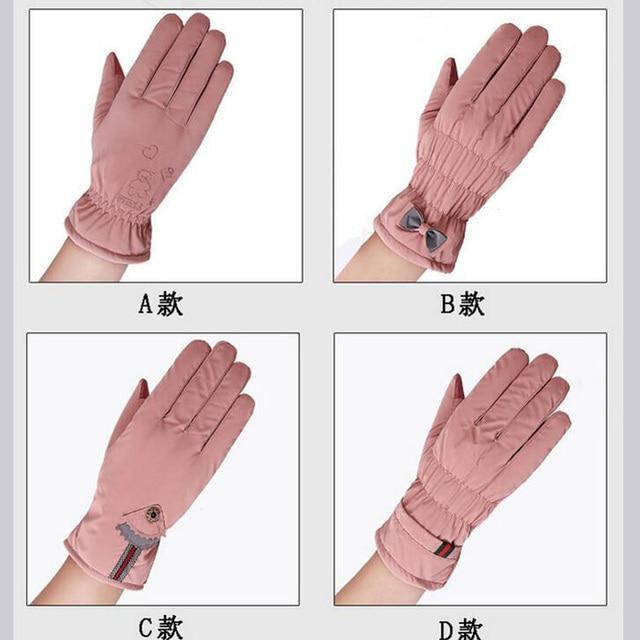 New Female Winter Outdoor Sports Warm Windproof Cartoon Bear Touch Screen Gloves Fashion Women Bow Tie Plush Gloves Mittens 17 3