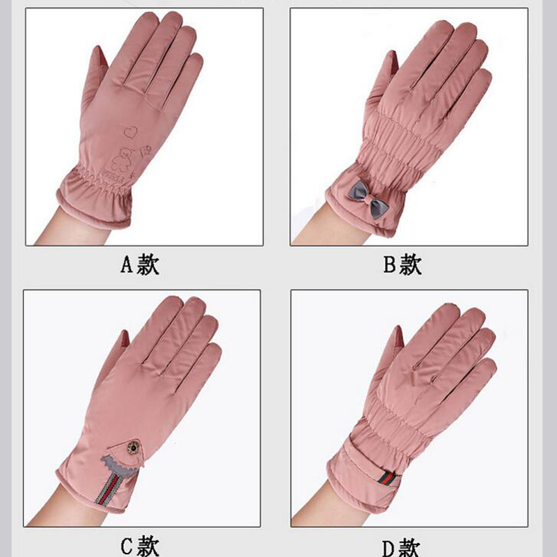 Hot Sell Female Winter Outdoor Sports Warm Windproof Cartoon Bear Touch Screen Gloves Fashion Women Bow Tie Plush Gloves Mittens Cheapest Price From Our Site Women's Gloves