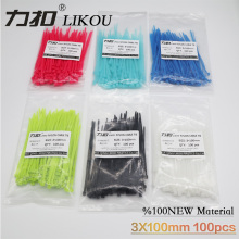 LIKOU Nylon Cable Ties 3x100mm self locking zip ties 100pcs 12 colors Plastic wire cable Tie 100mm 3.9inch