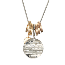 2018 Fashion Circles LOVE Word Round Pendant Long Chain Necklace&Pendants 7 Crystal Romantic Women Jewelry Girl Gift