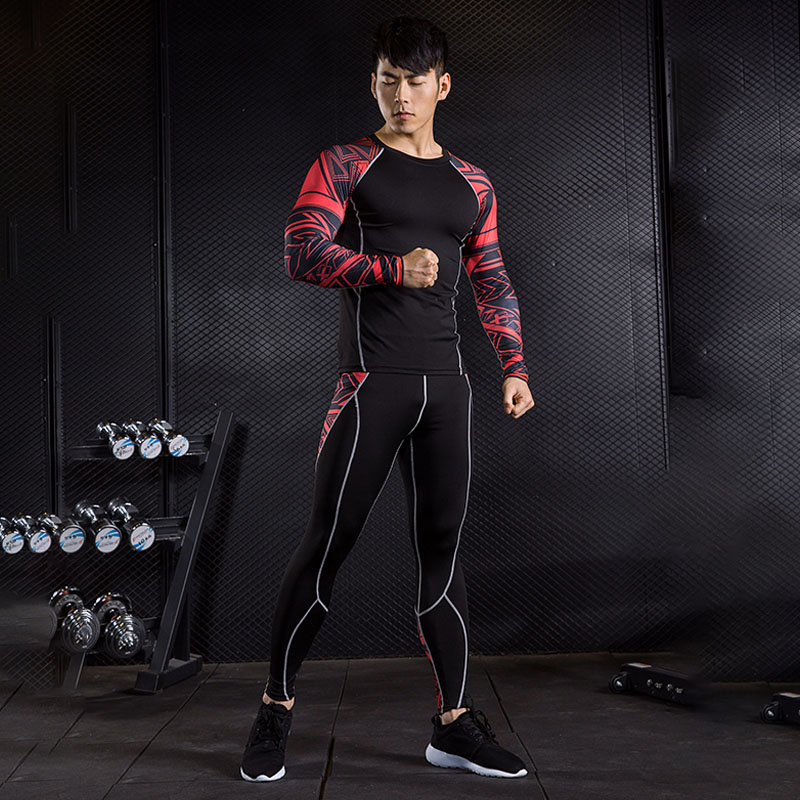 MMA Men's Compression Fitness T-shirt Suit 3D Printing Men's Trousers Leggings Rashgard Kit Crossfit Shirts Clothing Brand S-4XL