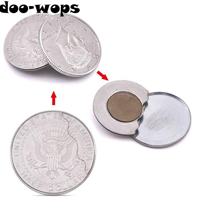 Magnetic Flipper Coin Butterfly Coin(USD half Dollar Copy) Magic Tricks Magician Accessories Close Up Props Gimmick Appear Magia close-up