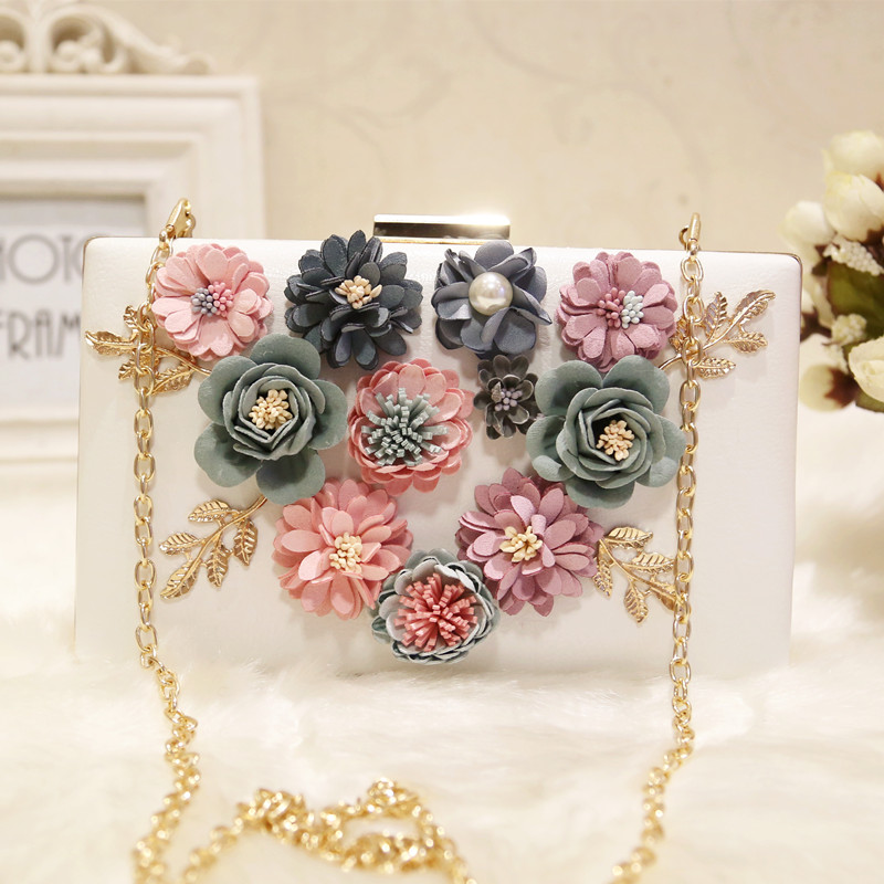 ФОТО Handmade Flowers Women Day Clutch Evening Bags Vintage Wedding Bridal Handbags Shoulder Bags with Chains Elegant Women Party Bag