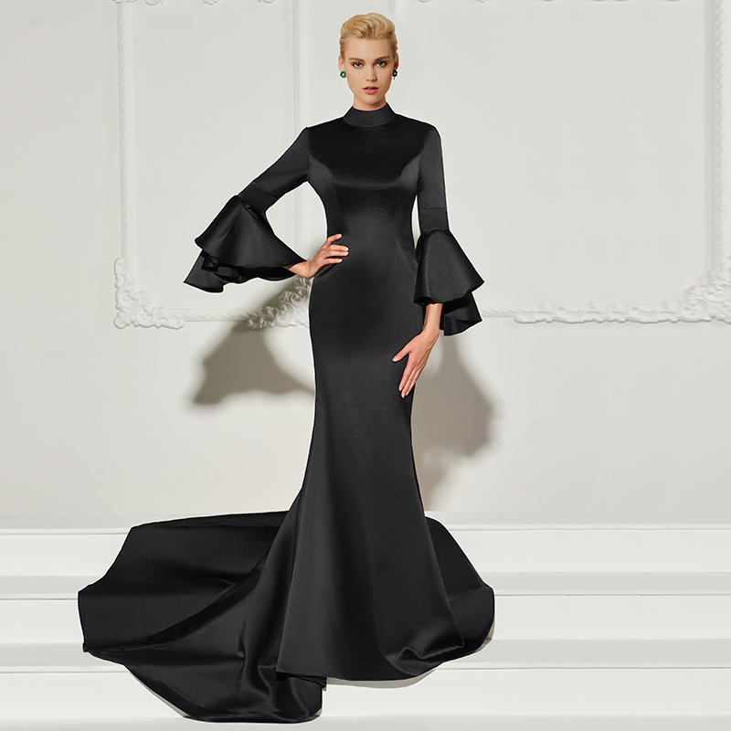 Tanpell high neck evening dress black full sleeves court train gown women backless formal mermaid plus
