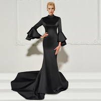 Tanpell high neck evening dress black full sleeves court train gown women backless formal mermaid plus customed evening dresses