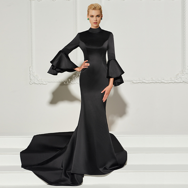 Tanpell High Neck Evening Dress Black Full Sleeves Court Train Gown