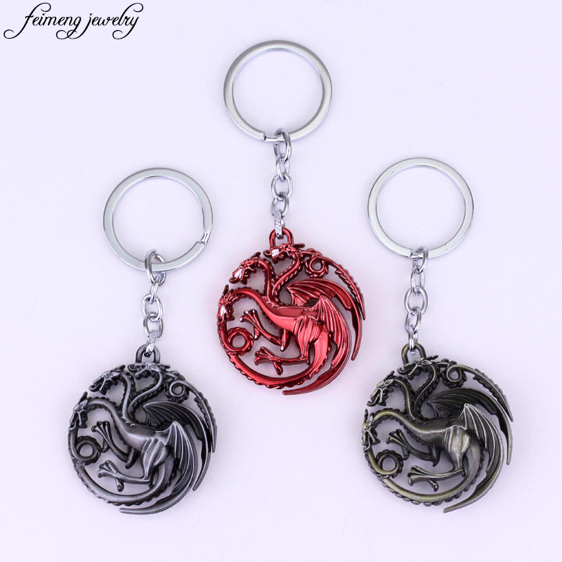Classic Movie Game Of Thrones KeyChain Song Of Ice And Fire Car Key Chain 17 Styles Fashion Metal Pendant Keyring For Fans