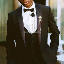 цены Black Wedding Groom Tuxedos for Men 3 Piece Shawl Lapel Male Suit Set Jacket Vest Pants Formal Suits Latest Style