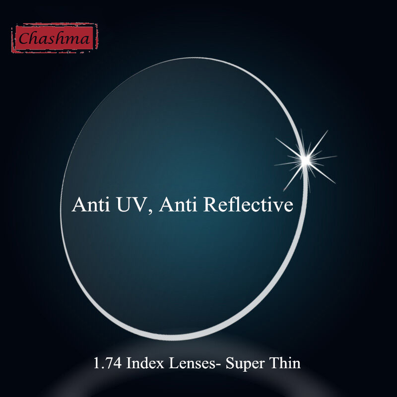 Chashma Ultra Thin Anti UV 1 .74 INDEX LENTILLES HMI REVÊTEMENT Verres Verres Sur Mesure Make Prescription OPTICAL Lenses