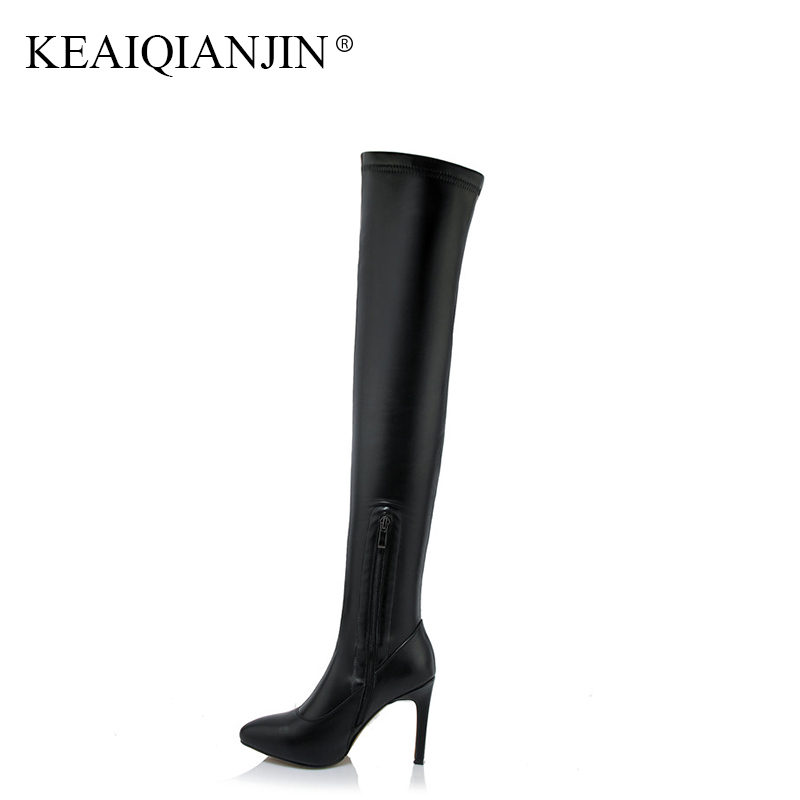KEAIQIANJIN Woman Autumn Winter High Heels Shoes Plus Size Pointed Toe Over The Knee Boots Black Genuine Leather Knee High Boots keaiqianjin black high heeled shoes autumn winter rivet lace up knee high boots woman genuine leather over the knee boots 2018