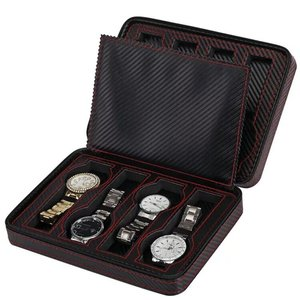Image 5 - נייד תיבת שעון סיב עור מפוצל נסיעות מקרה שעון תיבת אחסון ארגונית פחמן שעון מקרה 2/4/8 חריץ מעולה עמיד d20