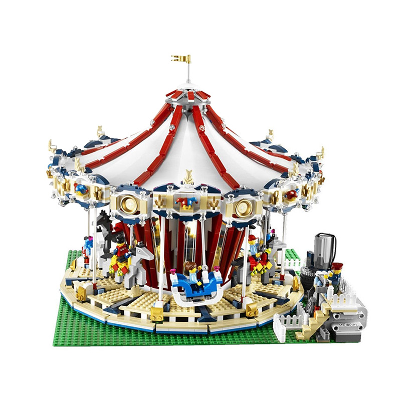 New Lepin 15013 City Sreet brick Carousel Model Building Kits Blocks Toy Compatible 10196 Funny Children Educational lovely Gift lepin 1767 city town city square building blocks sets brick kid model kids toys for children marvel compatible bela diy gift toy