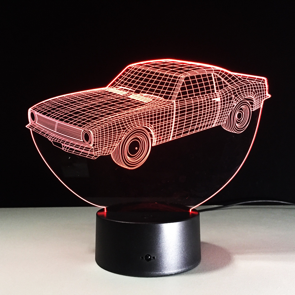 3D Car Model lamp USB 7 Color Small Night Light Baby Acrylic Remote Switch lights LED USB Desk lamp Atmosphere Party lamp