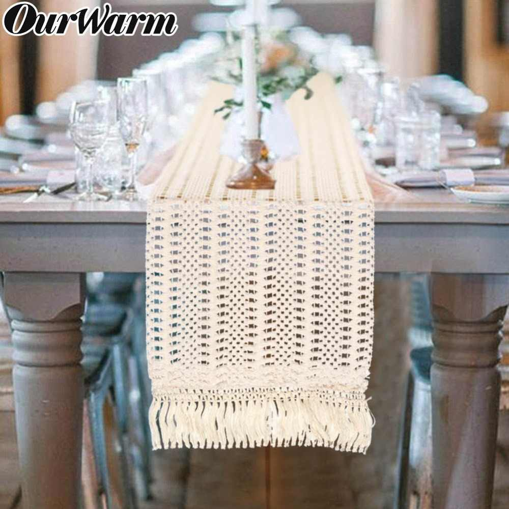 OurWarm Boho Decoração da Tabela Do Casamento Corredor Da Tabela com Borlas Macrame Marroquino Baby Shower Birthday Party Supplies 30X274cm