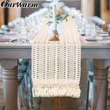 OurWarm Boho Wedding Table Decoration Moroccan Macrame Table Runner with Tassels Baby Shower Birthday Party Supplies 30X274cm