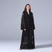 Elegant Muslim Abaya Dress Lace Cardigan Tunic Thobe Burka Islamic Clothing Middle East Long Robe Gowns Kimono Jubah Turkish