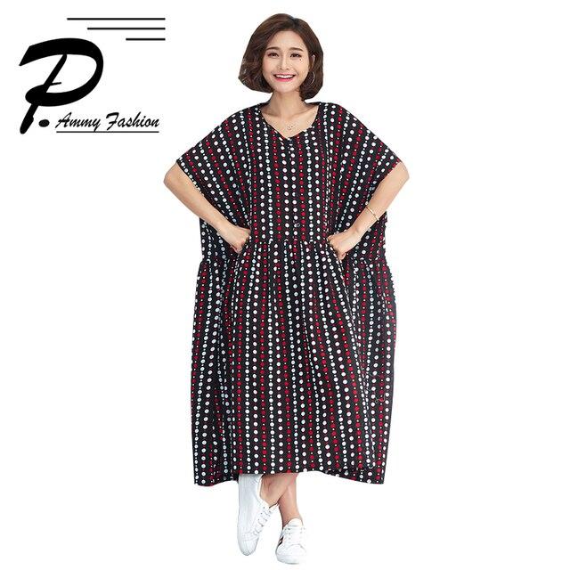 Women s Lagenlook Cotton   Linen Plus Size Vintage Dot Mid-Long Dress Lady  voguees Hot dead084425f0
