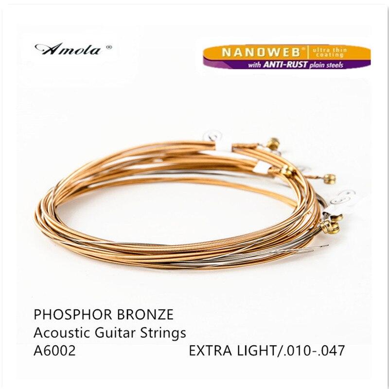 все цены на  Acoustic Guitar Strings A6002 010-047 Phosphor Bronze with Nanoweb Coating Extra Light Wound Guitar Strings 2 Sets  онлайн