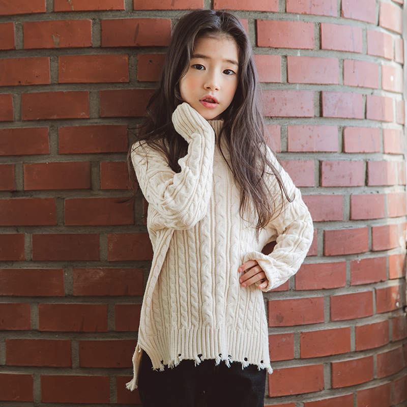 2018 Winter Girl Sweater Pullovers Autumn Children Clothing Sweaters Knitted Solid Casual Camisola Menina Kids Clothes Warm fashion style girls knitted sweaters tassel cape girl pullovers poncho cloak autumn winter children clothing kids knit sweater