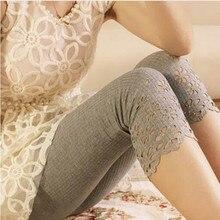 все цены на 5 Colors Spring Candy Color Short Safty Leggings Women Floral Hollow Out Flower Lace Leggings онлайн