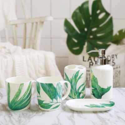Kreatywny tropikalnych lasów deszczowych zestaw do mycia ceramiczne kąpieli pięć sztuk zestaw kubek porcelanowy + szczoteczka do zębów uchwyt + balsam butelka + mydelniczka