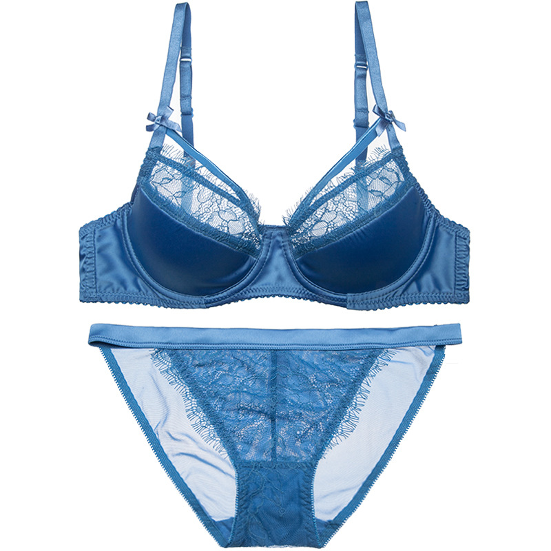 4e3c62df93 Detail Feedback Questions about Women Sexy Bras Set Eyelash Lace Lacy Thin  Cotton Pad Half Cup Bra Bikinis Panties French Elegant Underwire Lingerie  Satin ...