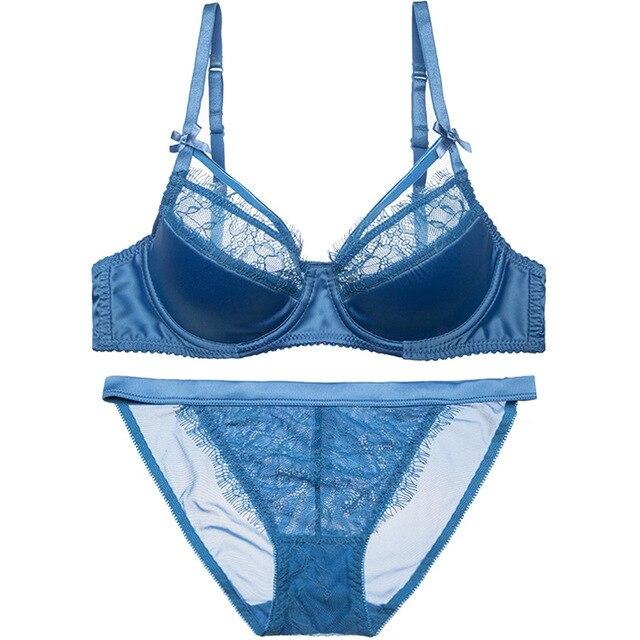 d634855389cc8 Women Sexy Bras Set Eyelash Lace Lacy Thin Cotton Pad Half Cup Bra Bikinis  Panties French Elegant Underwire Lingerie Satin Silk