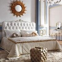 Европейский стиль роскошные французский двуспальные кровати под старину, 1,8 м твердой древесины мебель для принцессы прикроватные тумбочк