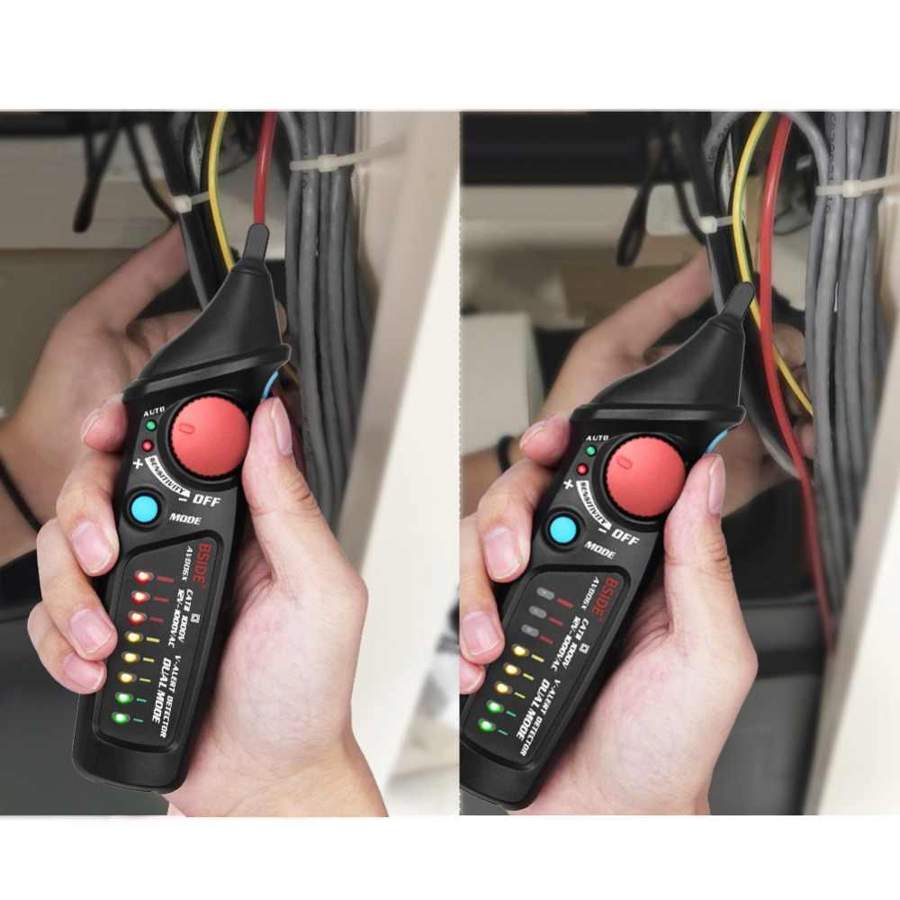 BSIDE AVD06X bezdotykowy czujnik napięcia AC 12-1000V tester obwodów długopis testowy gniazdo zasilania przewód na żywo sprawdź podwójny tryb z 8 diodami LED
