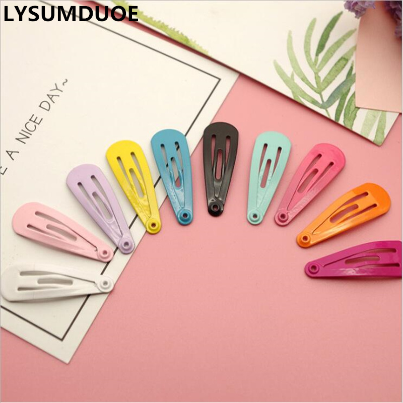 Fashion Child Hairpin 3cm BB Clip Drop Barrette Solid Candy Color Kids Hairgrip Paint Hairpins 10Pcs/Lot Girl Hair Accessories