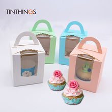 20 pcs Kraft Paper Gift Packaging box Pink Green white blue cupcake boxes handle window Wedding Birthday home Party customized