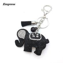 EMPRESS 9 Color Rhinestone Key Ring Jungle Animal Elephant Key Ring For Women Handbag Charm Jewelry Key Ring Girl Accessories(China)