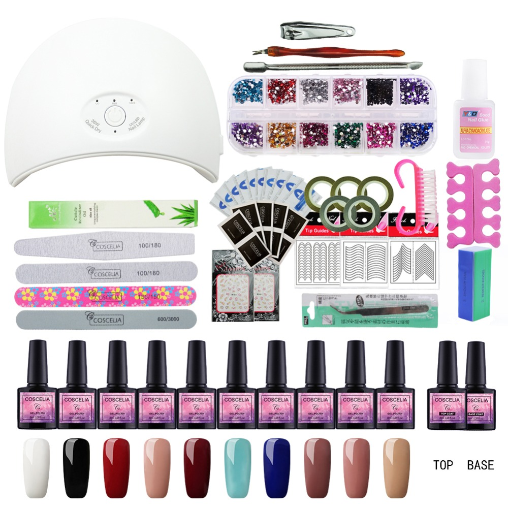 36W UV LED Lamp 10 Color UV Gel Nail Polish Nail Set Kit Building Gel Varnishes Nail Lamp for Gel Polish Nail Art Timer Dryer full uv gel nail art nail polish 36w nail uv lamp dryer tools eu plug set