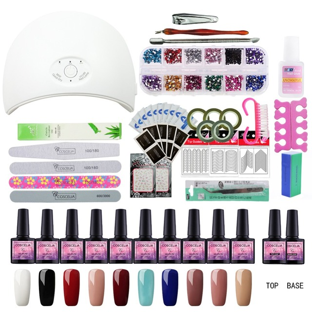 36w Uv Led Lamp 10 Color Gel Nail Polish Set Kit Building Varnishes