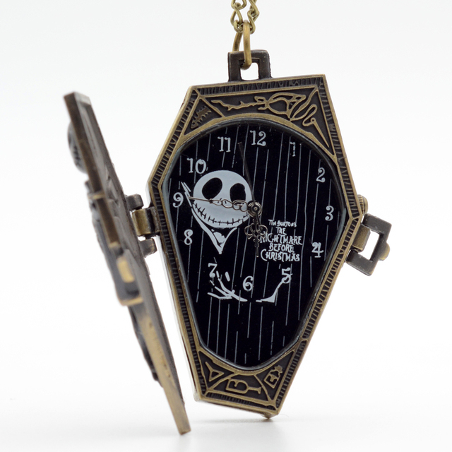 Pocket Watch Regarder New Style Nightmare Before Christmas Necklace Chain Men Wo