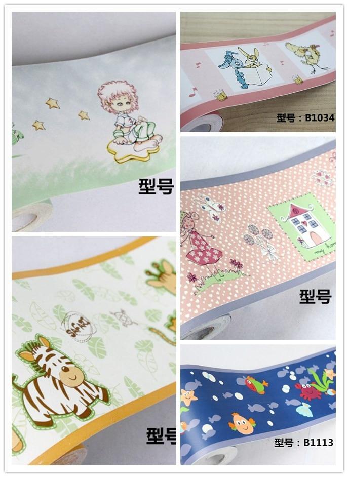 Pvc self adhesive waterproof cartoon wallpaper border room for Room decor 3d self adhesive wallpaper